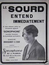 PUBLICITÉ 1932 SONOPHONE LE SOURD ENTEND IMMÉDIATEMENT - ADVERTISING