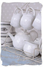 Tea Set Shabby Chic Coffee Dishes White Coffee Mug Cottage Table Service