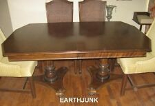 Ethan Allen Classic Manor Maple Double Pillar Dining Table and 2 Leaves 15 6013