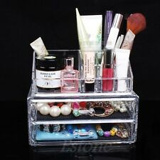 Crystal Clear Makeup Case Drawers Cosmetic Organizer Jewelry Storage Acrylic Box