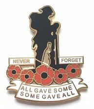 Never Forget Remembrance Poppy Soldier Commemorative Enamel Lapel Pin Badge