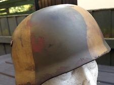 German Para Replica M 38 Helmet In Green With Camo Pattern Aged And Weathered