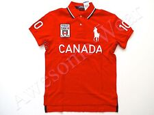 New Ralph Lauren Polo Custom Fit Big Pony Red 100% Cotton Canada Shirt  sz L