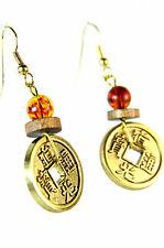 ELEGANT STUNNING BRONZE CHINESE WRITING BEADED EARRING BRAND NEW (A20)