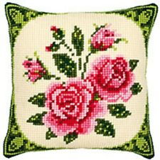Pink Roses - Large Holed Tapestry Cushion Kit/Printed Chunky Cross Stitch