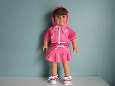 Embroidered C-U-T-E Pink Hoodie & Matching Skirt fits American Girl & Bitty Baby