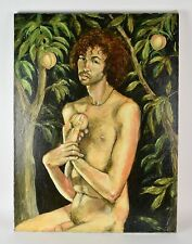 Nude Adam in the Peach Garden Oil Painting Signed Thomas Burger