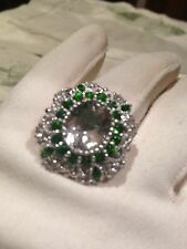 Genuine Green Amethist Real Chrome Diopside Vintage 925 Sterling Silver Ring