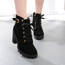 WOMEN FASHION HIGH HEEL LACE UP ANKLE BOOTS LADY PLATFORM WINTER WARM SHOES