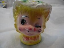 Vintage Enesco made in Japan Winking Kitty Cat Head Vase