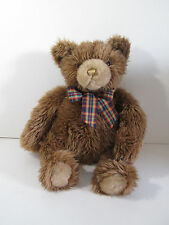 "Brown Teddy Bear Plush 17"" Long Hair Plaid Bow"