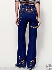 NWT Free People X Spell & The Gypsy High Rise Embroidered Flare Jeans S