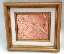 """Etched Engraved Hammered Tooled Copper 8.5 X 9.5"""" Military Airplane Art Picture"""