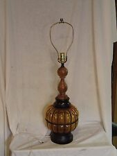 """VINTAGE CHILO Amber Glass Ball Orb Table Lamp 23 1/2"""" Light Mid Century"""