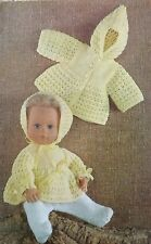 "Knitting Pattern 14"" Baby Dolls Clothes Coat Angel Top Bonnet & Legging W1757"