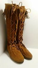 Minnetonka 1922 Knee High Lace Up Fringe Moccasin Boots  Made In USA Size 10