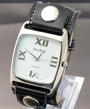 Fred Belay Watch Designer Fashion Wide Black Leather Band Square Studded