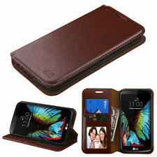 NEW For LG K10 PHONE BROWN CARD MONEY WALLET LEATHER ACCESSORY SKIN COVER CASE