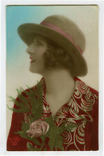 1920s Glamor Glamour PRETTY YOUNG LADY French Deco photo postcard