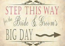 DIRECTION WEDDING SIGNS - Display at your wedding venue - STEP THIS WAY VINTAGE