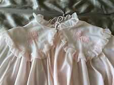 Vintage ROGERS Small Ruffled Embroidered Rose Blush Pink Nylon Bed Jacket