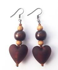 ETHNIC INSPIRED: WOMENS TRIBAL BROWN GLASS HEART PENDANT DROP DANGLE EARRINGS