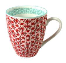 Becher Tasse mit Henkel  japanisch inspiriertes Design Porzellan neu