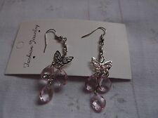 BRAND NEW SILVER PLATED BUTTERFLIY AND BABY PINK DROPLETS EARINGS