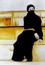 Islamic Art, Lady In Burka, Hijab, Oil Painting On Canvas.