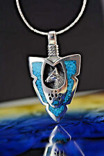 Sterling silver Arrowhead pendant w/ a Wolf  & Wolf Paw w/ Turquoise chip inlaid