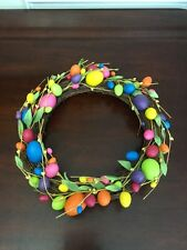 "Easter Egg Bright & Colorful 15"" Wreath Door Holiday Decor"