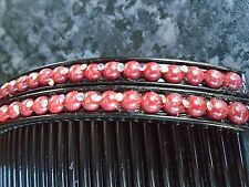 Pack 2 black hair combs plastic comb coloured faux pearl diamante slides grips