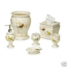 Avanti Linens Gilded Birds 6 Piece Ivory Ceramic Bath Accessory Set with Gold