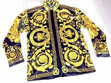 BARROCO ICONIC CROWN GOLD BAROQUE SILK SHIRT FOR MEN SIZE M-L GIANNI V COUTURE