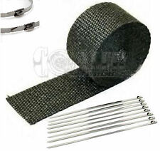 "2"" X 25' Black HEAT WRAP / STAINLESS CABLE ZIP TIE STRAPS EXHAUST PIPE HEAVY NEW"