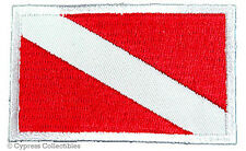 DIVER DOWN FLAG EMBROIDERED SCUBA DIVING PATCH - WHITE BORDER IRON-ON APPLIQUE