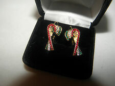 CANDY CANE EARRINGS AUSTRIAN CRYSTAL CHRISTMAS GIFT PIERCED GOLDTONE GLITTERING!