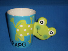 **CLEARANCE** Indra green frog mug stoneware hand painted frog handle (D3-6)