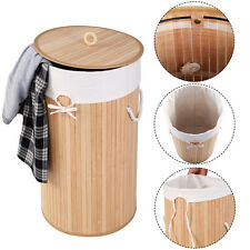 Round Bamboo Hamper Laundry Basket Washing Cloth Storage Bag Lid Natural