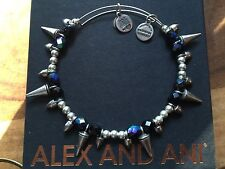 RARE ALEX and ANI 2010 FROCK and ROLLER Silver BEADED SPIKE Bangle BRACELET 💎