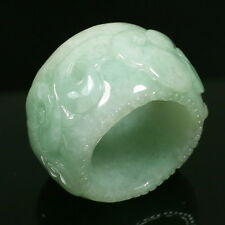 Ruyi Carve Size 16 Thumb Green Ring Real Genuine Untreated Type A Jadeite Jade