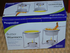 Progressive Butter Warmers Set 2 Ceramic w/ Stands Holiday Buffet Party Wedding