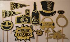 Wedding Photo Booth Prop in Black & Gold made with 100% Glitter Paper!
