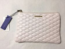 NWT Rebecca Minkoff Pale Pink Seashell Quilted Love Pouch Clutch Leather