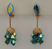 Vintage Lewis Segal Green AB Crystal Dangle Gold Filegree Tone Clip Earrings