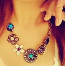 Women Crystal Flower Pendant Choker Chain Bib Statement Necklace Fashion Jewelry