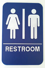 RESTROOM Unisex Sign ADA Compliant w/Braille Blue Public Accommodations Facilit