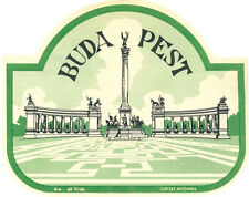 Budapest- Hungary    Vintage 1950's-Style  Travel Decal/Sticker Luggage Label