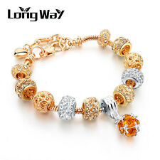 Luxury Gold European Charms Bracelet With Yellow CZ Beads Fit Women Jewelry P