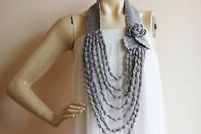Gray Crochet Necklace-Flower Necklace Scarf-Crochet infinity-Cotton Necklace